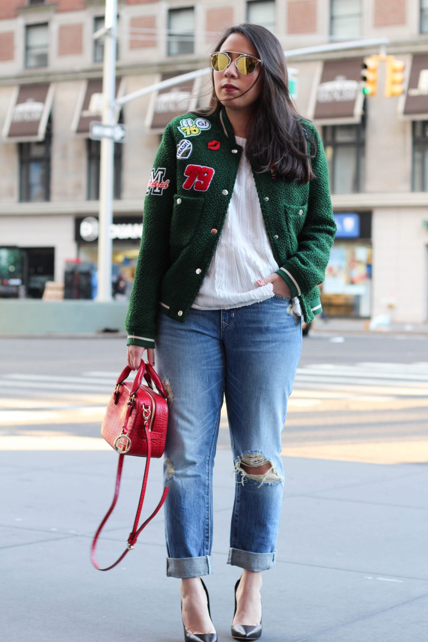 The Patched Bomber Jacket by popular New York fashion blogger Live Laugh Linda