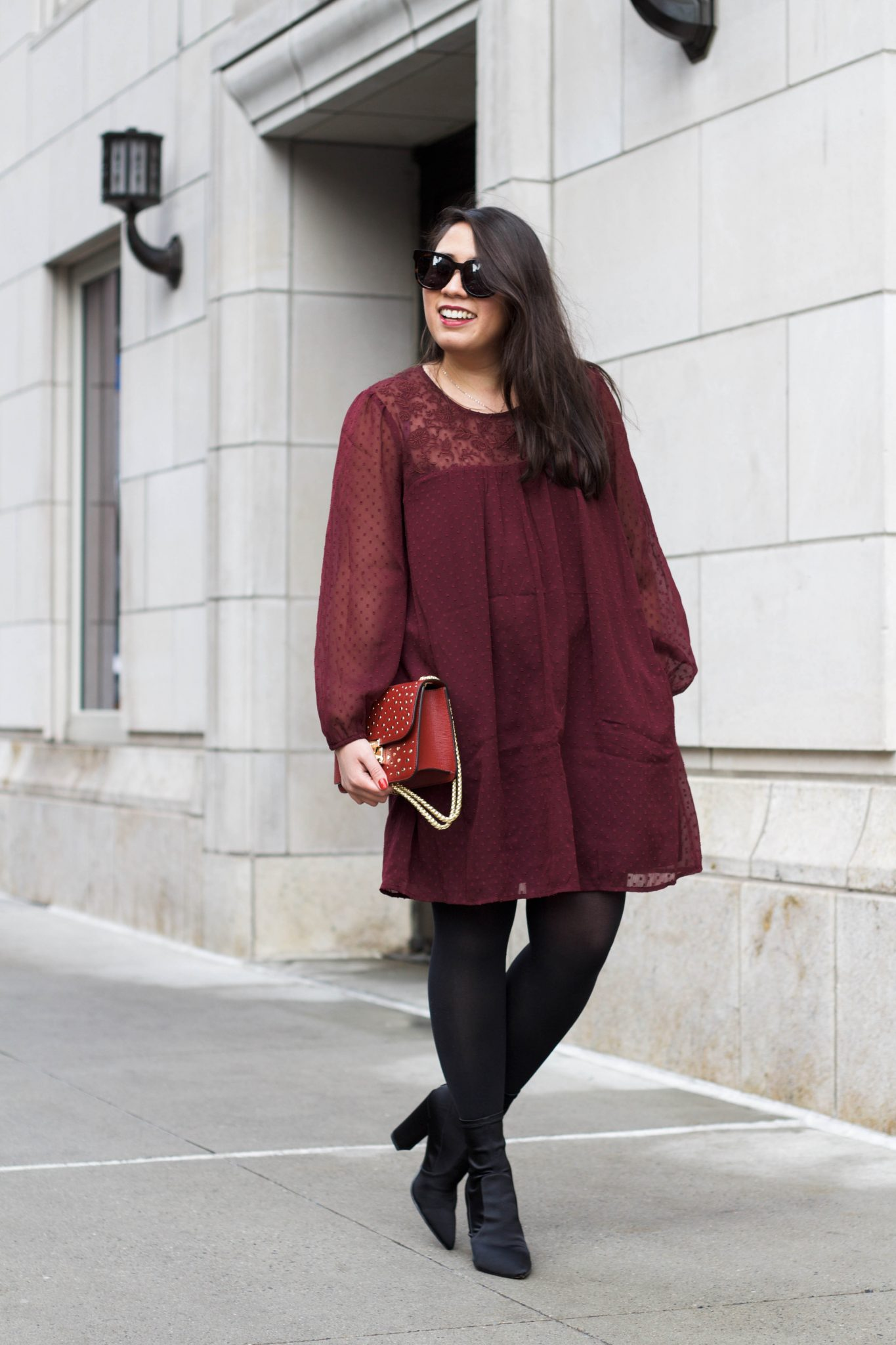Abercrombie & Fitch embroidered chiffon dress styled by popular NYC fashion blogger Live Laugh Linda