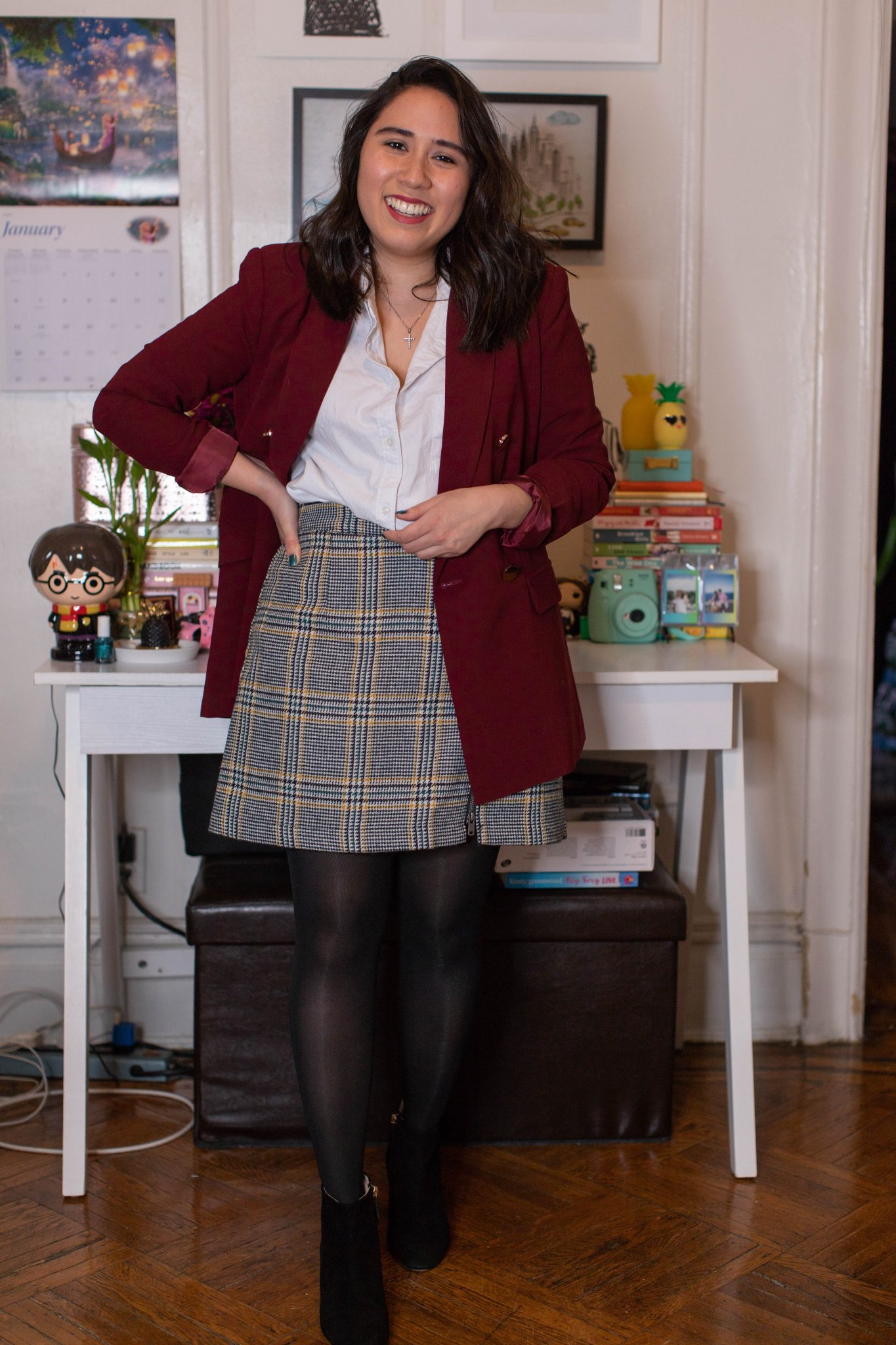 Winter Work Outfits featured by top US fashion blogger, Live Laugh Linda; Image of woman wearing Steve Madden booties, Abercrombie & Fitch plaid mini skirt and oxford shirt, Chelsea28 jacket