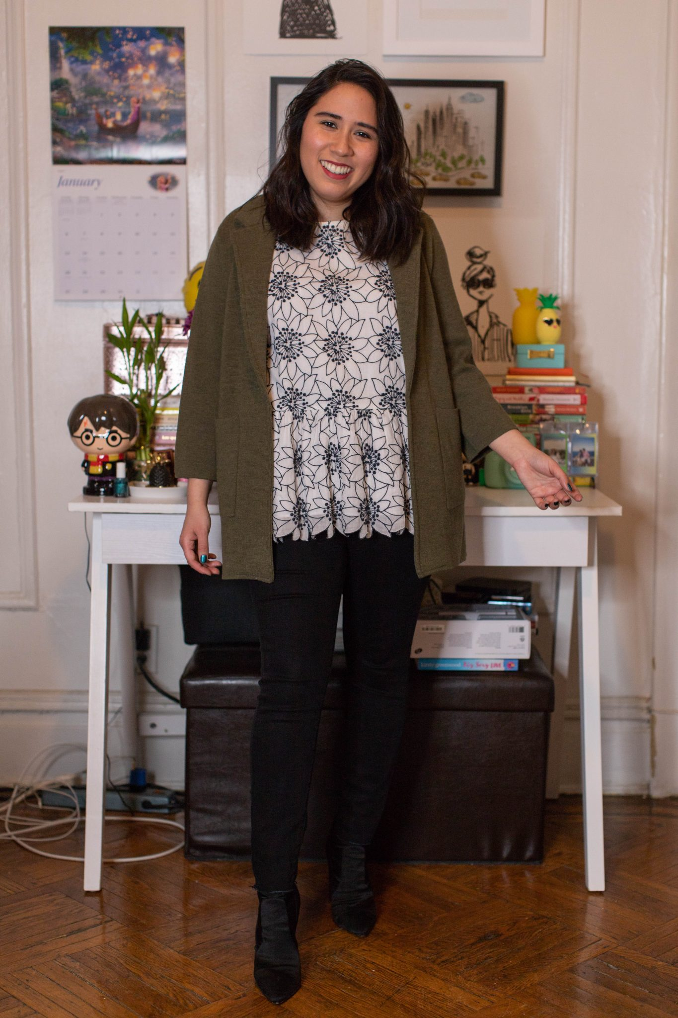 Winter Work Outfits featured by top US fashion blogger, Live Laugh Linda; Image of woman wearing J.Crew blazer, Loft blouse, Levi's skinny jeans and Steve Madden booties