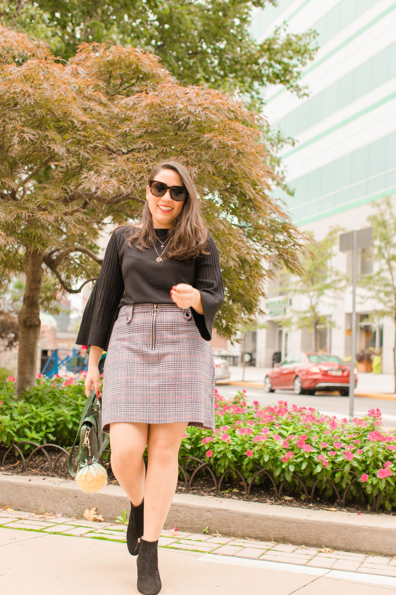 Why I Love Blogging featured by top US life and style blogger Live Laugh Linda; Image of a woman wearing Ann Taylor top, Asos skirt, 3.1 Phillip Lim bag, Nordstrom booties, Alex & Ani necklace and Gentle Monster sunnies.