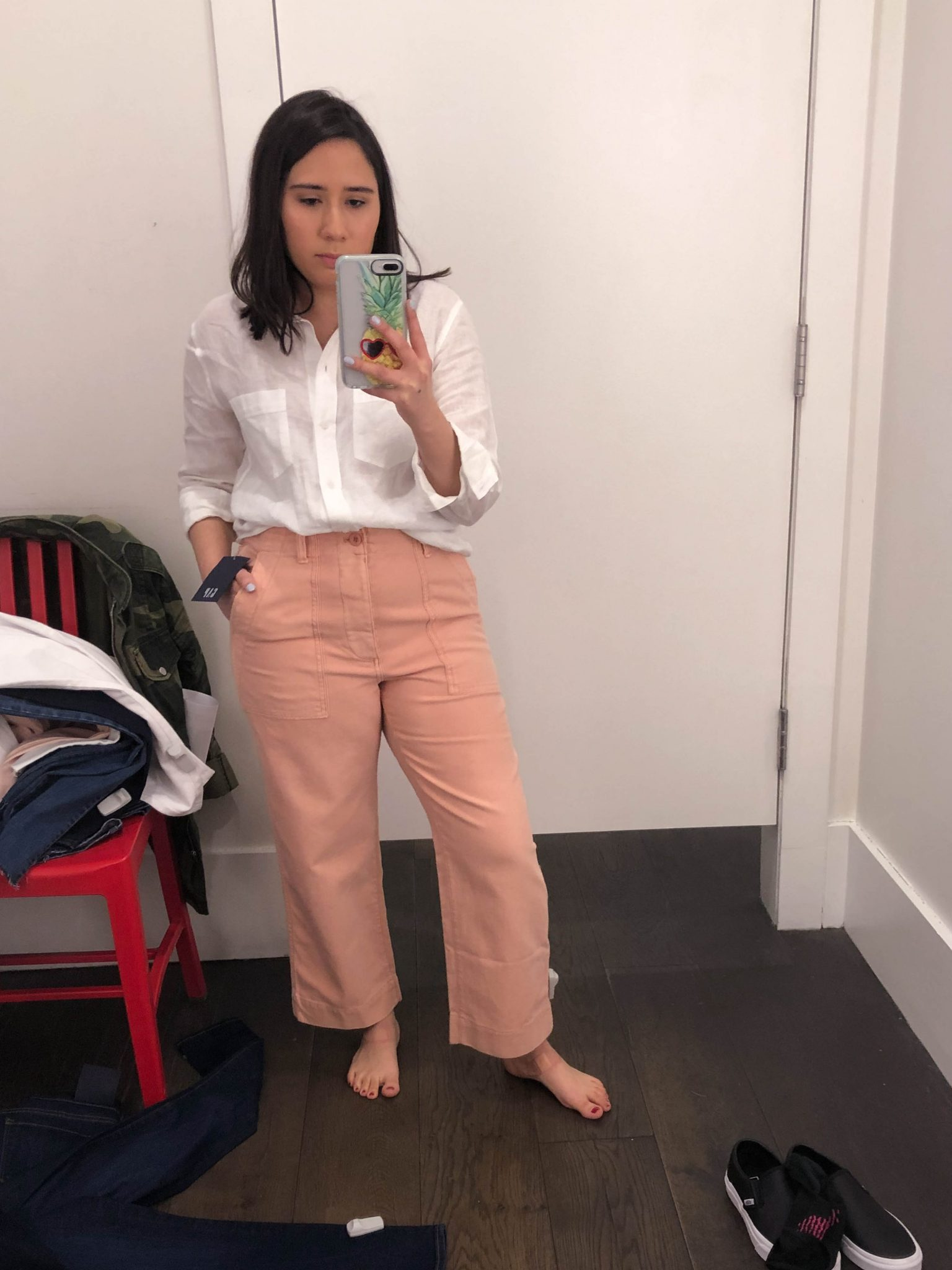 Friday Favorites featured by top US life and style blogger Live Laugh Linda; Image of a woman wearing pink pants from Gap.