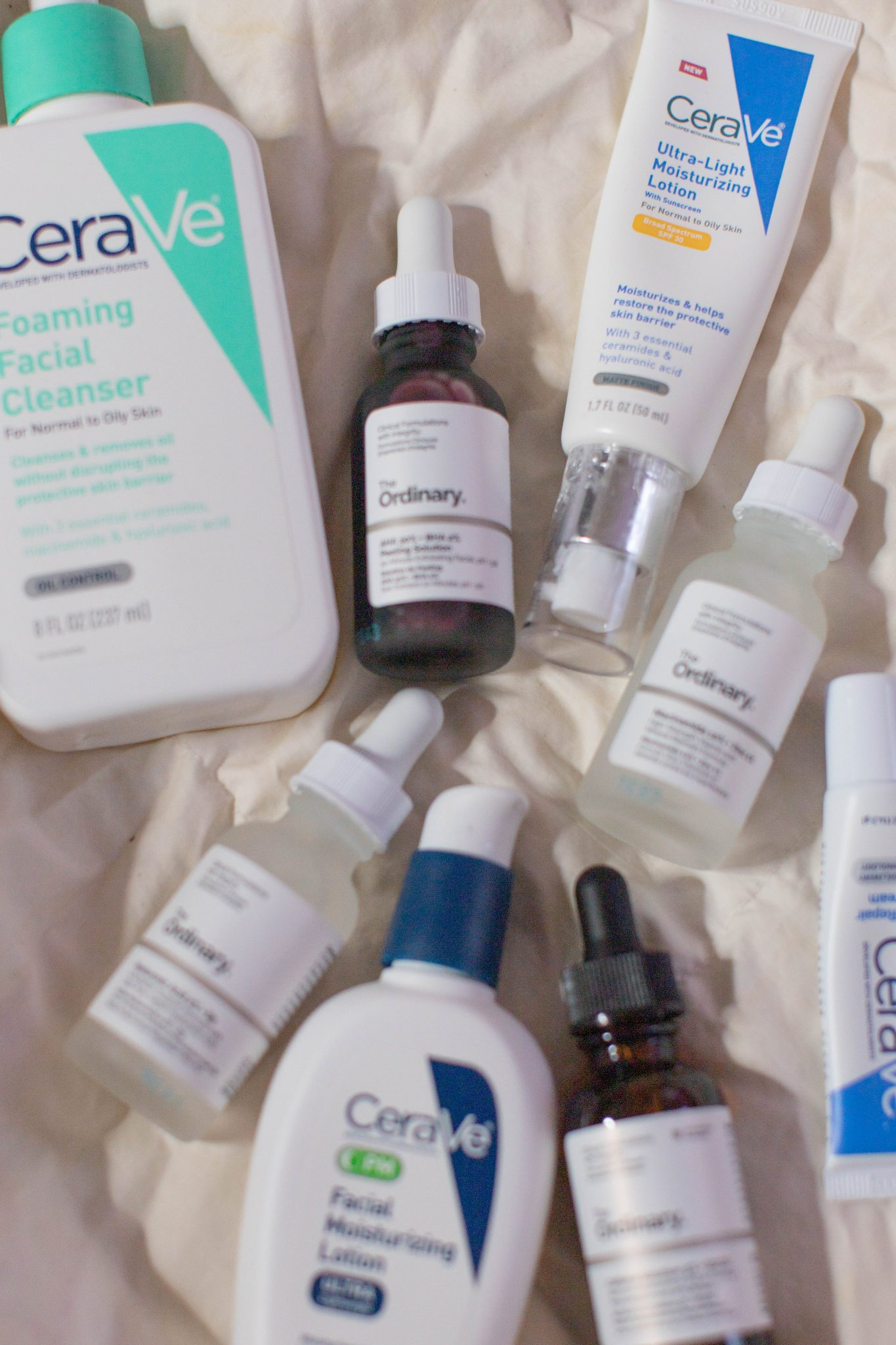 TikTok Skincare Routine by popular NYC life and style blog, Live Laugh Linda: image of CeraVe skincare products and The Ordinary skincare products