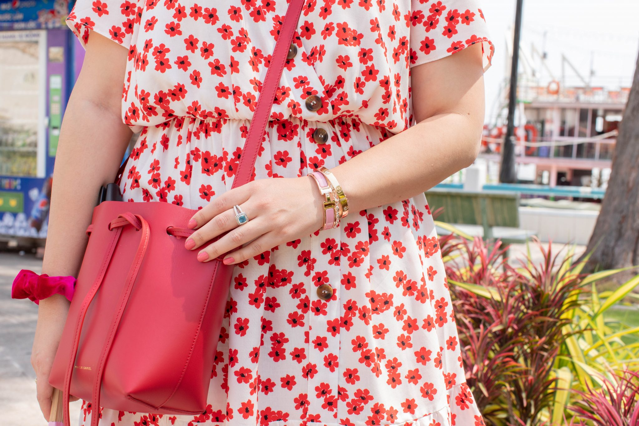 Why did you start blogging? by popular NYC life and style blog, Live Laugh Linda: image of a woman in an Asos dress, red mansur Gavriel mini bucket bag, tory burch miller sandals, gentle monster dreamer 17 01 sunglasses