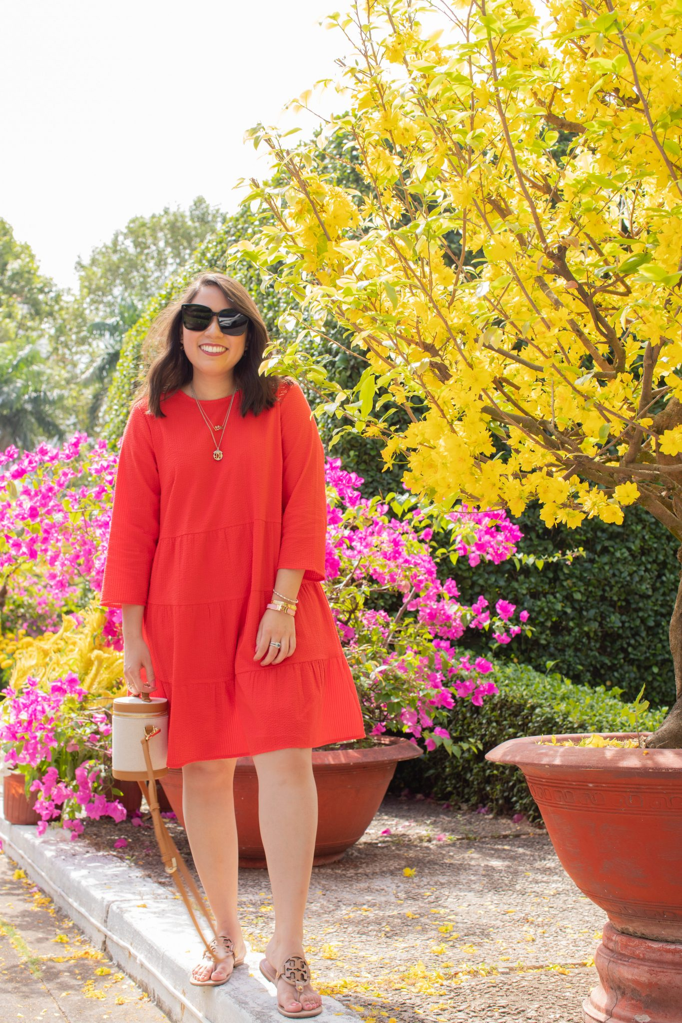 5 Things I'm Grateful For August 2020 by popular NYC life and style blog, Live Laugh Linda: image of woman in red Asos dress and Paravel Crossbody Capsule