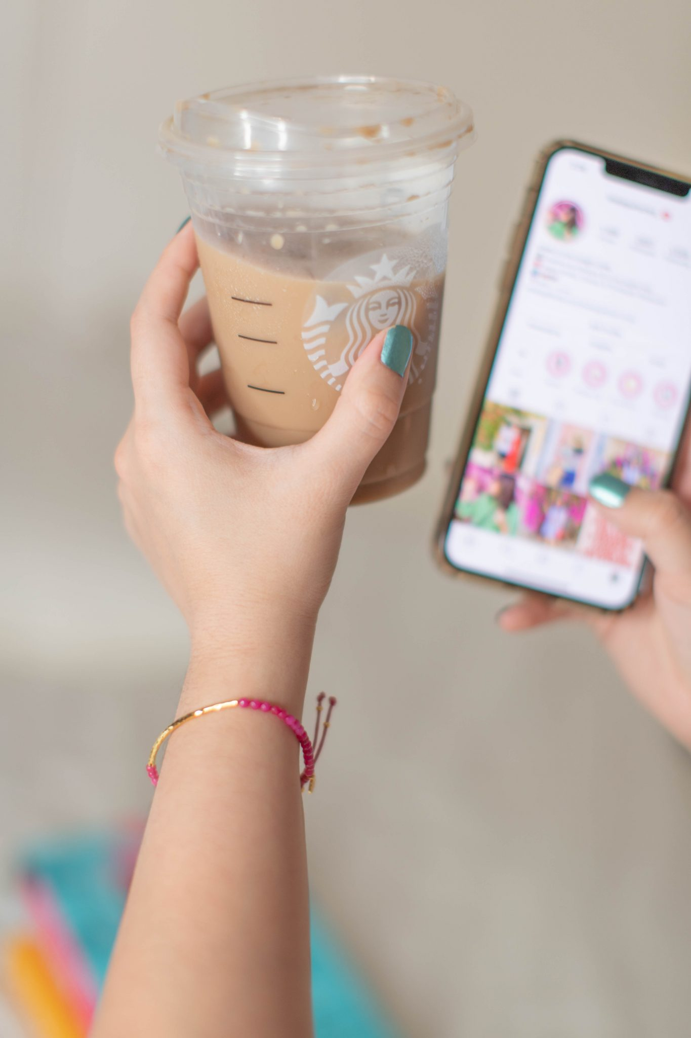 Recent Fashion and Beauty Finds by popular NYC life and style blog, Live Laugh Linda: image of Starbucks coffee and Gorjana Power Stone bracelet