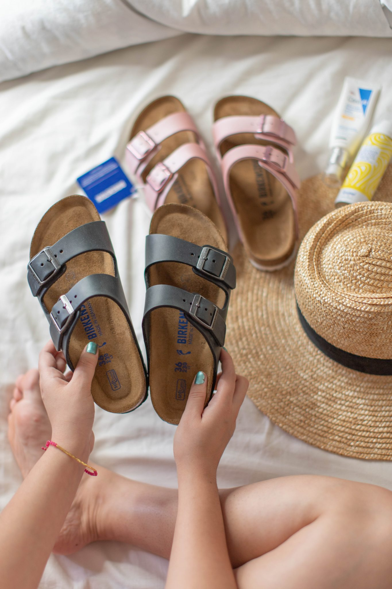 Recent Fashion and Beauty Finds by popular NYC life and style blog, Live Laugh Linda: image of Birkenstock sandals, Brixton hat, sunscreen