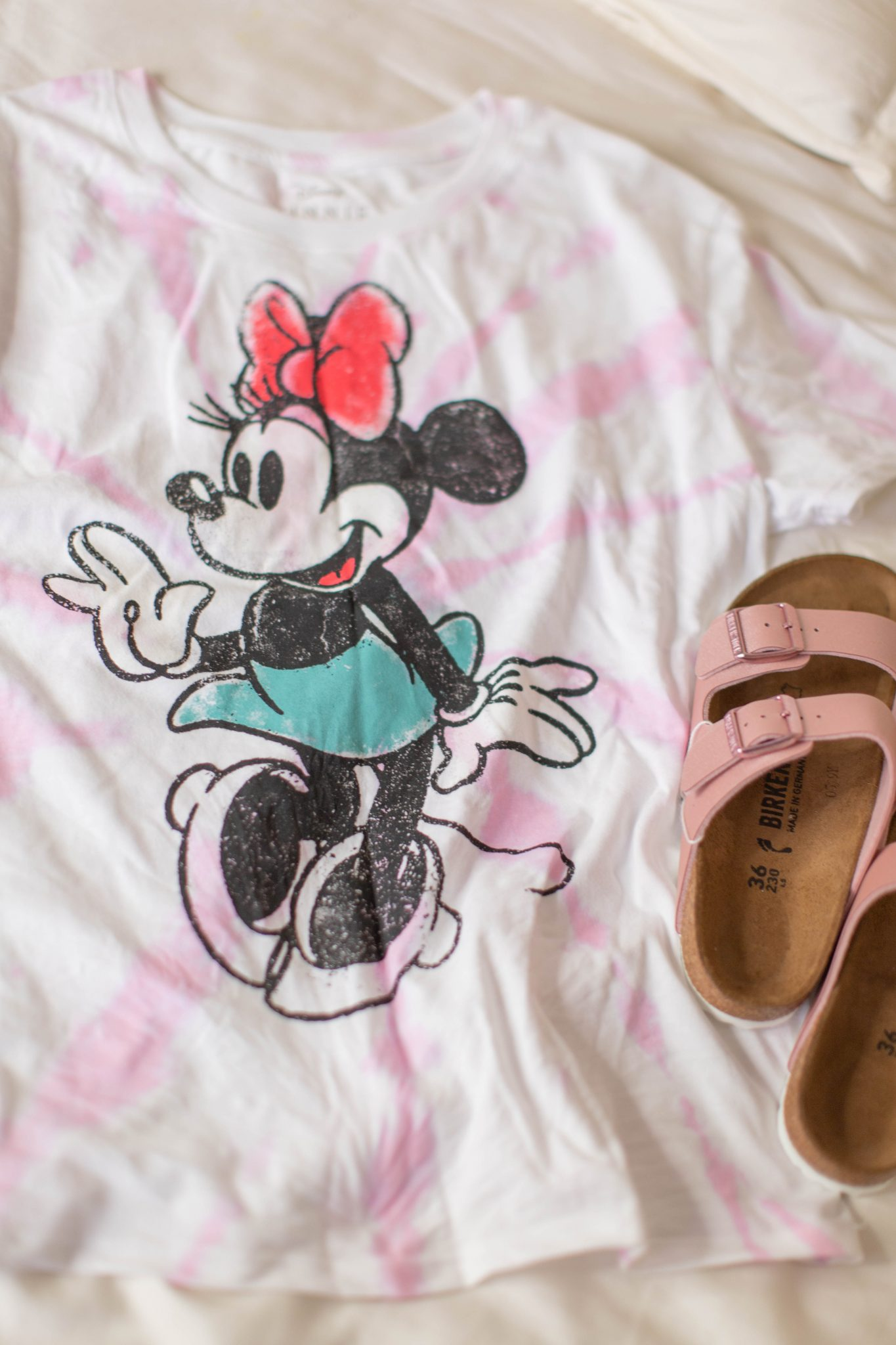 Recent Fashion and Beauty Finds by popular NYC life and style blog, Live Laugh Linda: image of Target tie dye Minnie Disney tee and birkenstocks