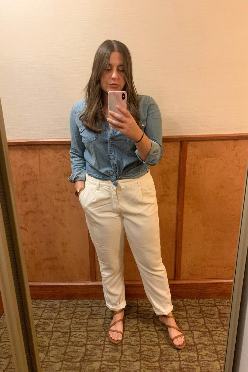 Friends In New York City :: Meet Anna - Senior E-commerce Manager by popular New York lifestyle blog, Live Laugh Linda: image of a woman taking a mirror selfie of their outfit of the day.