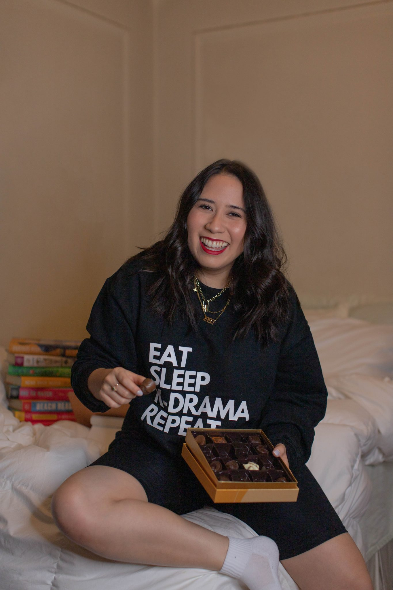 Introducing Basically A Mess by popular NYC life and style blog, Basically A Mess: image of a woman in a K-Drama sweatshirt for a blog relaunch photoshoot