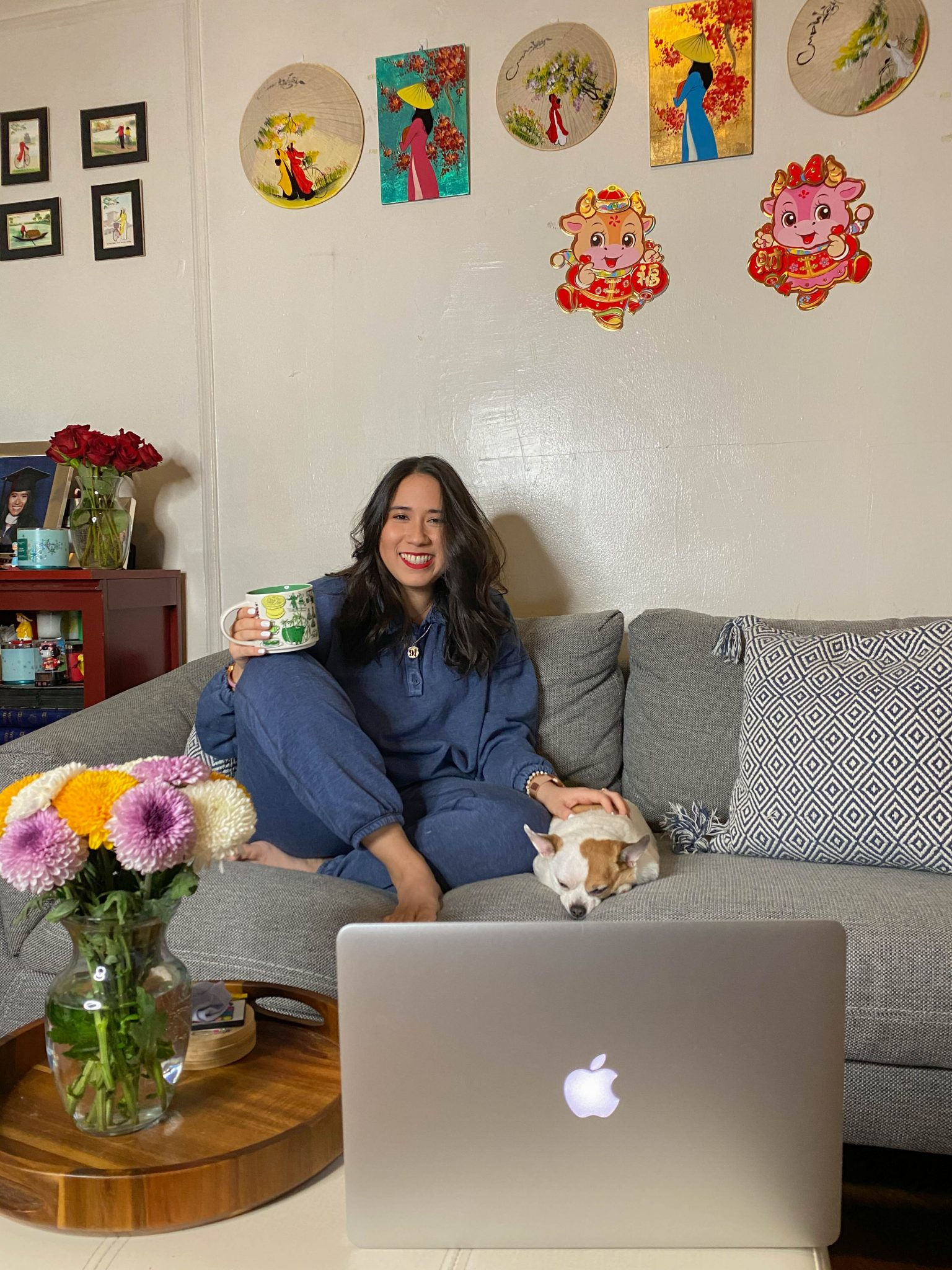 5 Things I'm Currently Loving by Basically A Mess (photo of woman in Aerie Fleece of Mind lounge set at home in living room decor)