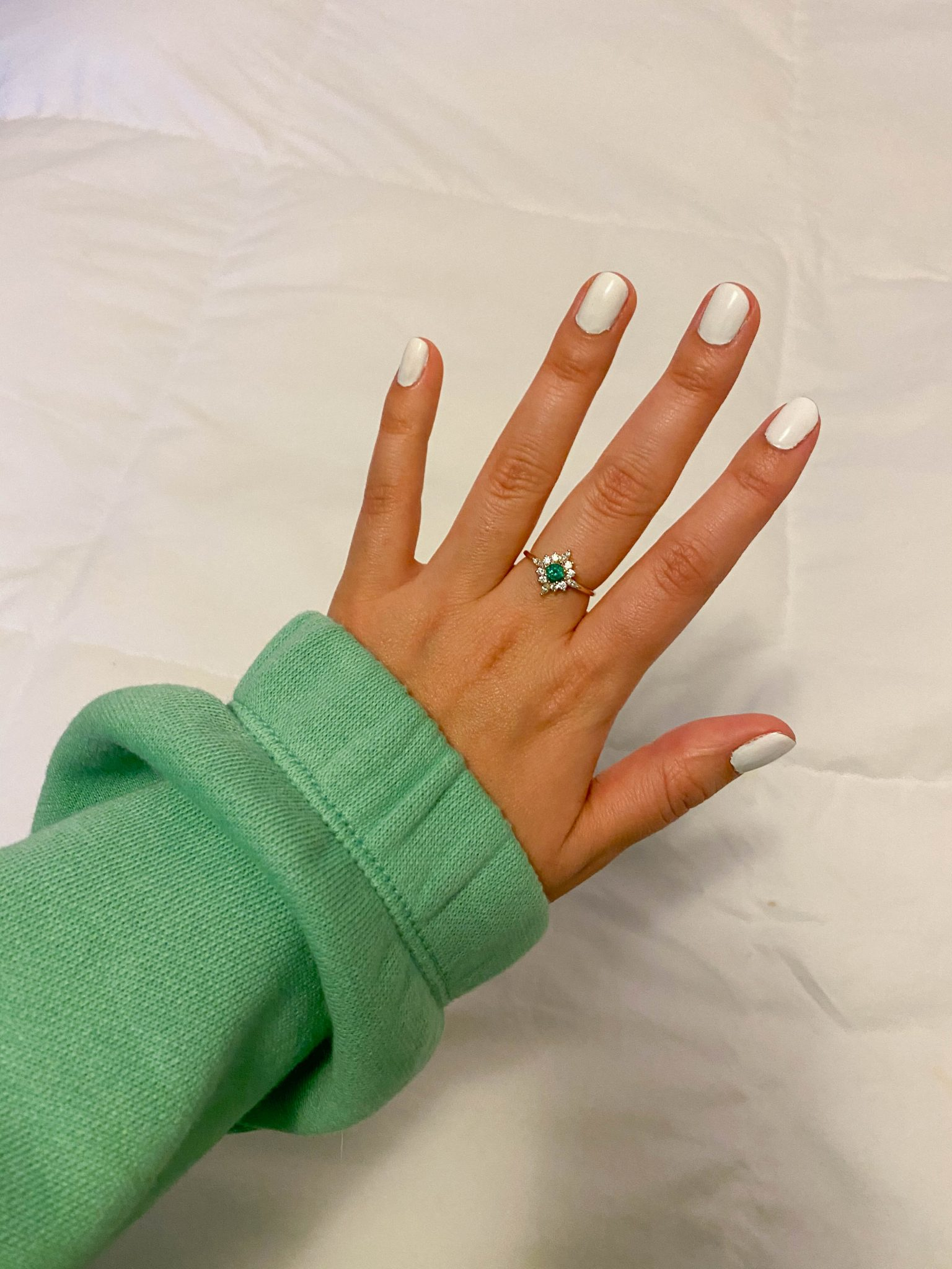 5 Things I'm Currently Loving by Basically A Mess (photo of white nail polish and Local Eclectic ring)