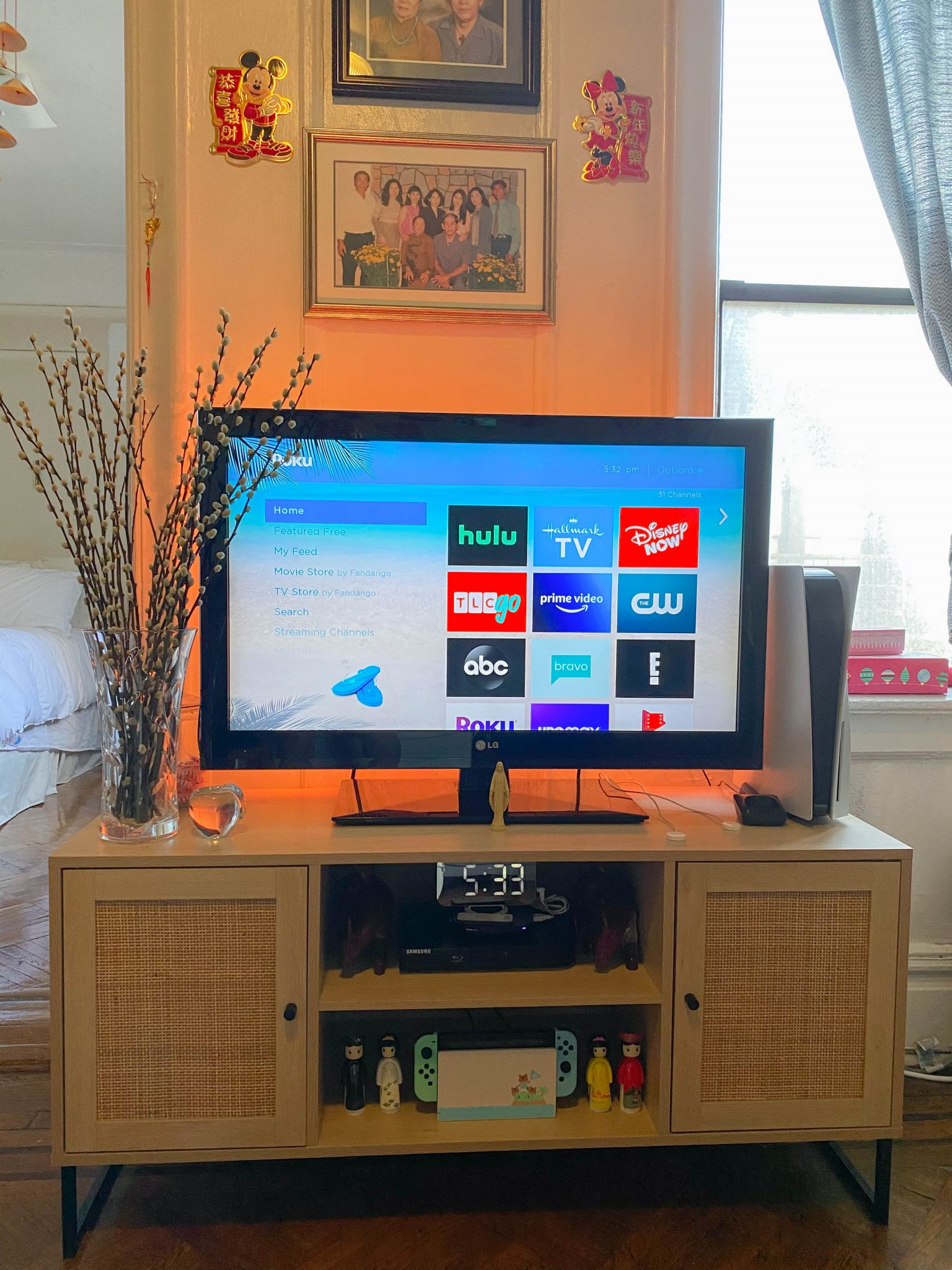 Life Lately July 2021 by Basically A Mess (photo of a Nathan James TV stand in a small apartment decor)