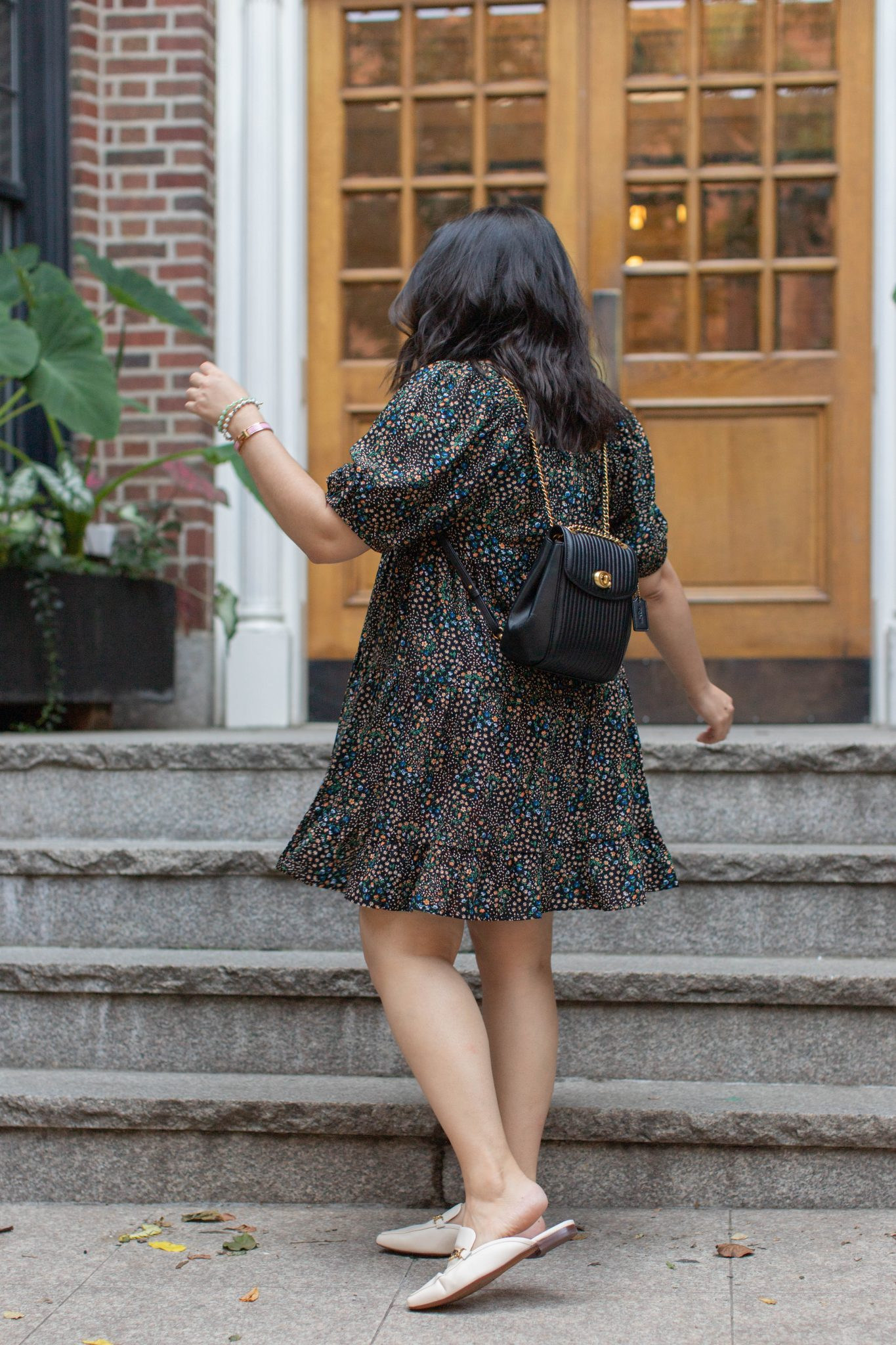 Weight Loss Tips I Learned From Noom by Basically A Mess (photo of a woman in an affordable Target dress, Sam Edelman Mules, Coach convertible backpack)