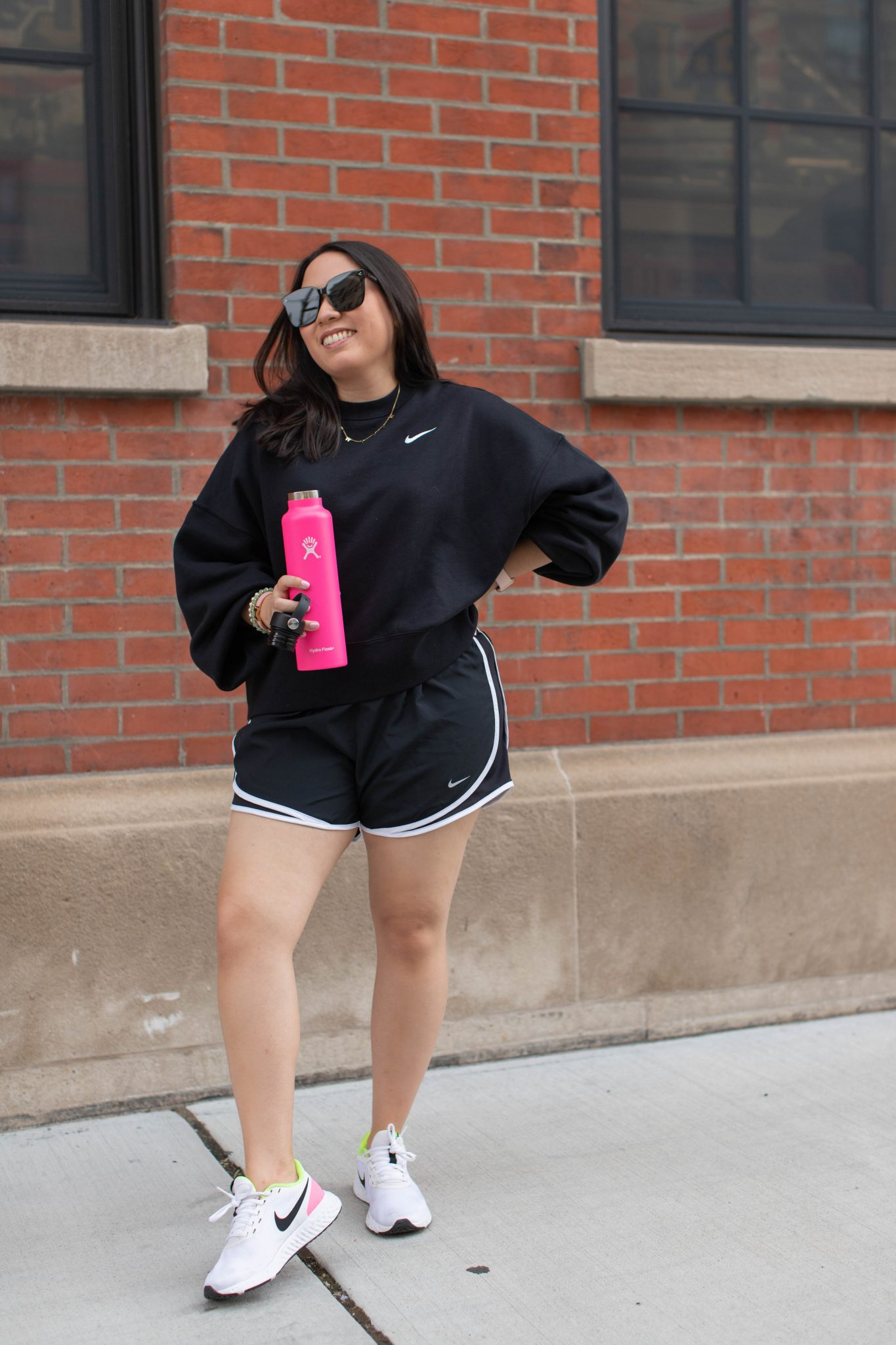 Nordstrom Anniversary Sale 2021 Haul by Basically A Mess (woman Nike sweatshirt and running short set, Hydro Flask bottle)