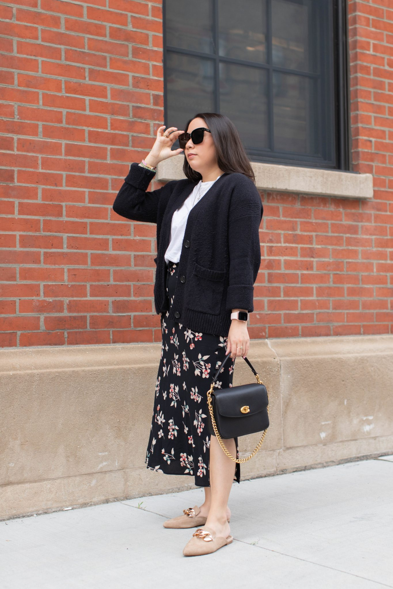Nordstrom Anniversary Sale 2021 Haul by Basically A Mess (woman Madewell midi skirt. styling a midi skirt. Steve Madden Mules.)
