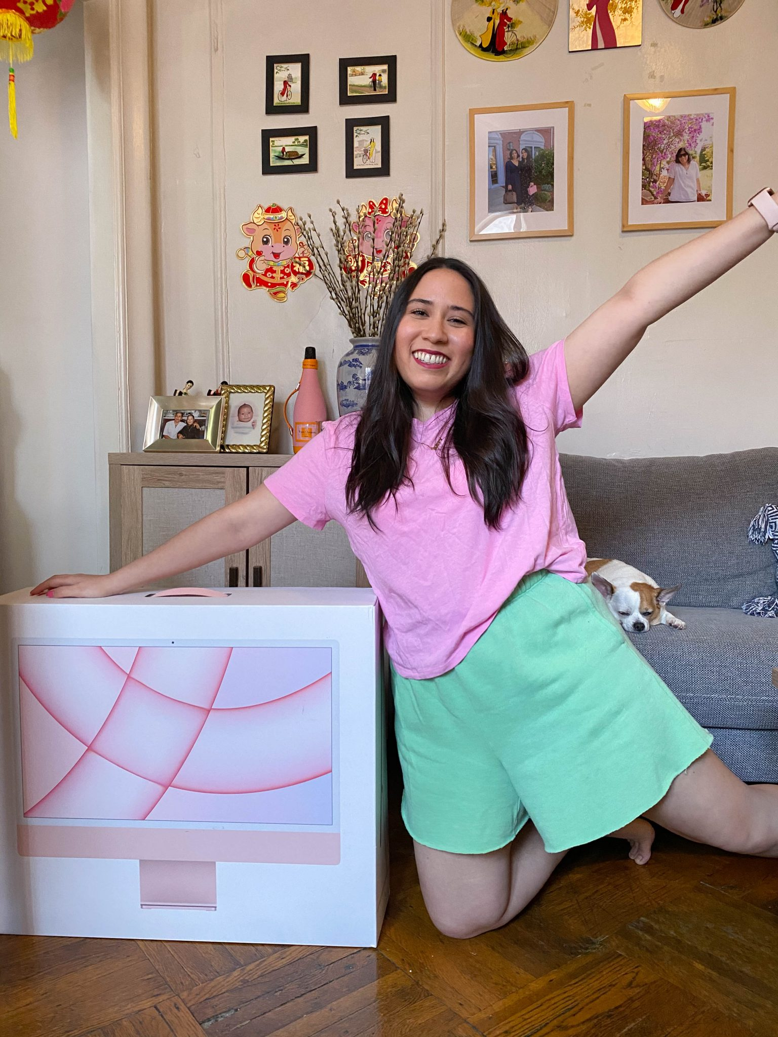 Life Lately July 2021 by Basically A Mess (photo of a woman with a pink M1 iMac)