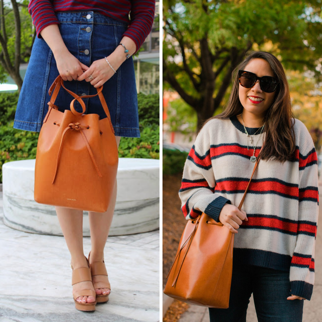 6 Items I've Sold on Poshmark & Why by Basically A Mess (photo of a woman with the Mansur Gavriel Bucket bag size comparison)