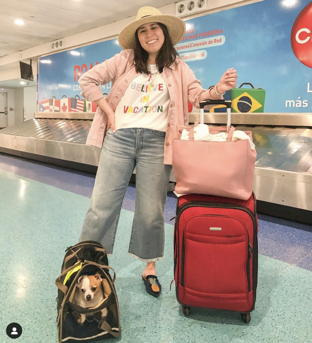 6 Items I've Sold on Poshmark & Why by Basically A Mess (photo of a woman with a Dagne Dover Allyn Leather Tote review at the airport in San Juan, Puerto Rico)