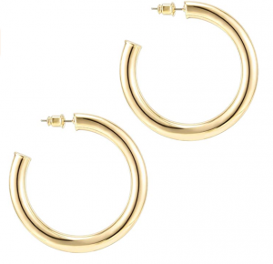 Gold Colored Lightweight Chunky Open Hoops